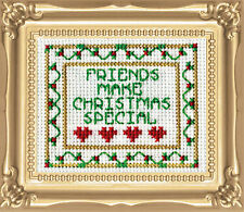 Cross Stitch Kit Design Works Christmas Friends Picture w/Frame & Mat #DW512