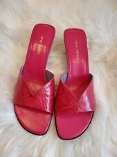 Nine West Leather Red Sandals Slides Sz 8.5 Flats Shoes Croco Embossed