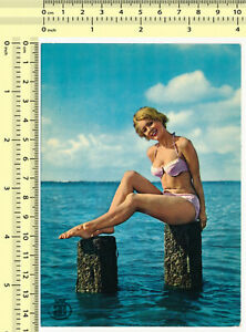 018 1960s Pin-up Bikini Woman Female Swimwear Lady Beach old photo postcard