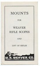 1940s Brochure for Weaver Rifle Scope Mounts Weaver Co El Paso TX