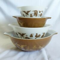 Vintage Pyrex Early American Cinderella Mixing Bowls Set #'s 444, 443, 442 & 441