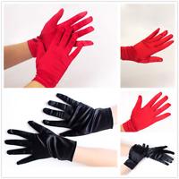 Women Short Wrist Gloves Smooth Satin Party Dress Prom Evening Wedding Gloves