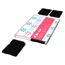 KIWI Ultra Slim Memory Card Holder Storage Protector Fits 4SD Cards Compact Pink