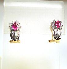 New Diamond .20 ct tw Ruby .60 ct tw 14k Y/W Gold Earrings * GAL  Appraisal