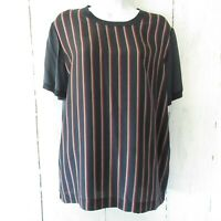 Vince Top M Medium Navy Blue Stripe Silk Short Sleeve