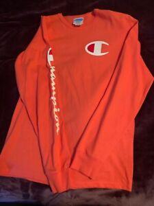Orange Long Sleeve Champion Shirt Size Medium
