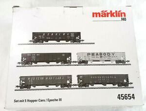 Märklin 45654 Güterwagen H0 US Hopper Cars 5x Ep. III neuw. OVP train HO 1:87