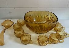 More details for vintage 1970s punch bowl and 12 glasses carnivalware party glassware mid century
