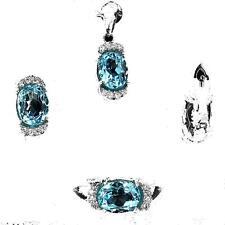 Parure Topaze bleu Argent 925. Pendentif + chaine, bague, boucles d'oreille