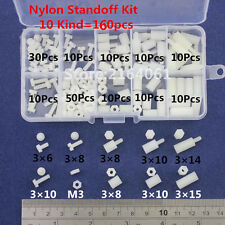 M3 Nylon White Hex M-F Standoff Screw Nut Male Female PCB Board Assortment Kit