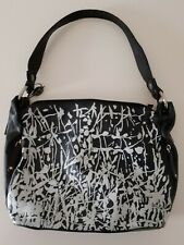 Vintage MARTA PONTI, Black and White, Medium Size Leather Handbag,Rare Design!
