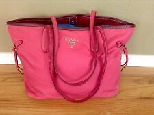 Auth PRADA Tessuto Saffiano Shopping Tote Shoulder Bag Berry Fuschia Pink