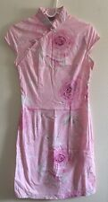 Women's Pink Floral 100% Cotton Cheong-sam / Qipao / Chinese Dress - Size S
