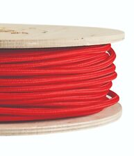 BRIGHT RED FABRIC CABLE - Lighting Cable Flex - Italian - Sold Per Metre