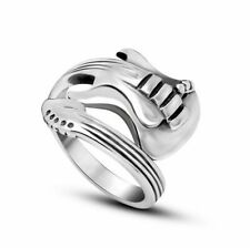 STUNNING Silver Steel Guitar Adjustable Ring Size GIFT Mens Boys NEW UK
