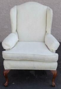 Beautiful Wing Back Armchair – VERY NICE UPHOLSTERY – VGC – BALL & CLAW FEET