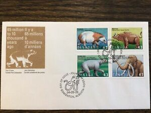 Stamps CANADA 🇨🇦 1994 43c PREHISTORIC LIFE MNH, Block FDC #1532a