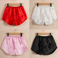 Women Solid Satin Sleepwear Lingerie Underwear Home Pajama Shorts Pants Trousers