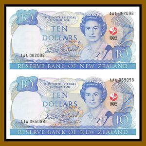 New Zealand 10 Dollars (2 Pcs Uncut sheet), 1990 P-176 Comm Queen Elizabeth II