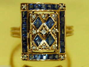 C101 Genuine 9K or 18K Gold Natural Sapphire & Diamond Art-Deco Ring in yr size