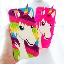 3D Cartoon Colorful Unicorn Rubber Soft Case Cover for iPhone 4S 5 6S 7 8 Plus X