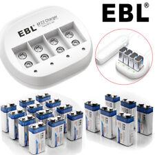 Lot EBL 9V 600mAh Li-ion Rechargeable Batteries w/ 4-Slot 9-Volt Lithium Charger