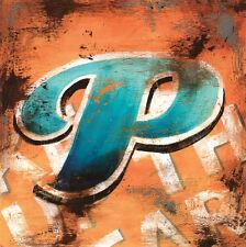 "36""x36"" P by RODNEY WHITE LETTER ALPHABET GICLEE CANVAS"