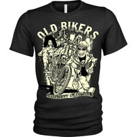 Old bikers T-Shirt never happy unless riding Unisex Mens