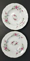 "Wawel Rose Garden Soup Bowls 8 1/4"" Poland Set of 2 Excellent"