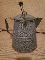 "Vtg Lg Gray Enamelware/ Graniteware Wood Handle Coffee Pot~ Farmhouse Decor 14""H"