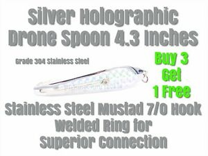 Silver Holographic Drone Trolling Spoon 11cm 4.3 Inches With Mustad Hook! NEW!