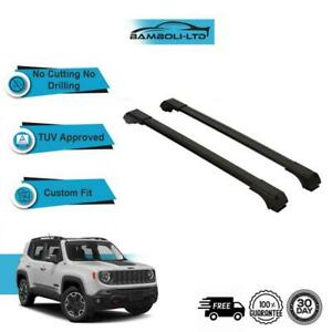 Fits JEEP RENEGADE 2014-ONWARDS Roof Rack Cross Bars  Rails Alu BLACK SET