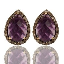 Pave Diamond Amethyst Gemstone 925 Silver Wedding Stud Earrings - 18K Gold