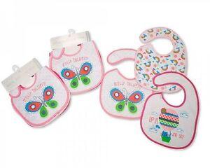 Nursery Time Baby Bibs Girls with PEVA back - 3 Pack - 724