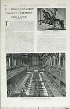 1902 PRINT THE KINGS CHAMPION & ANCIENT CEREMONY OF THE CHALLENGE WESTMINSTER
