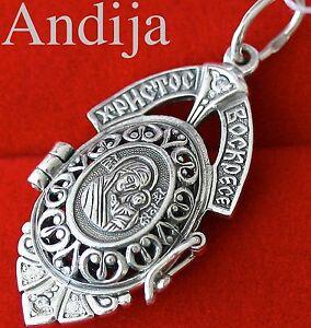 Mother of God Kazan New Russian Jewelry Locket. Open Work. Silver 925 Orthodox