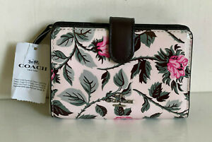 NEW! COACH SLEEPING ROSE PRINT PATENT LEATHER MEDIUM CORNER ZIP WALLET $185 SALE