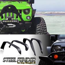 4pcs Steel Front Rear Flat Fender Flares For 07-17 Jeep Wrangler JK Unlimited RY