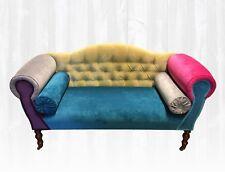 HANDMADE IN UK Provence Sofa Multi Coloured Patchwork Velvet, grey, blue, pink