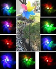 Solar Powered Windmill Spinner Yard Garden Stake Color Changing LED Light