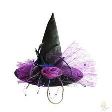 Chapeau de Sorcière de Luxe Noir Fleur Tulle Strass Plume 45  cm