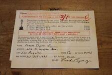 FRANK CAPRA JR ACADEMY AWARDS SIGNED ATTENDANCE CARD 190 AUTOGRAPH