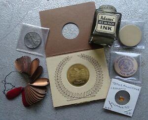 7 odd items from estate lot - Adam's Jet Black Ink bottle,Copper Pedals,Topaz ++