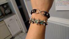 Set of 2 CZ Infinity & Starfish Leather Suede Fashion Wrap Bracelet
