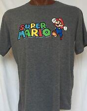 Nice Super Mario XL Cotton Blend Gray Colorful Short Sleeve Official Nintendo