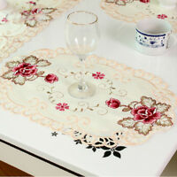 1/4Pcs Floral Doily Embroidered Placemat Tablecloth Dinning Table Mat Lace Oval