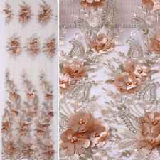 1 Yard 3D Flower Embroidery Beads Tulle Mesh Lace Fabric DIY Bridal Dress Fabric