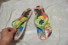 womens old navy green floral flip flops sandals shoes size 10