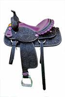 """Western Black Leather Hand Carved Barrel Racer Saddle 15"""" : Purple Gator Seat"""