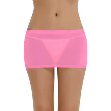 Womens Stretch Sheer Mini Skirt See Through Lingerie Micro Shorts Nightwear